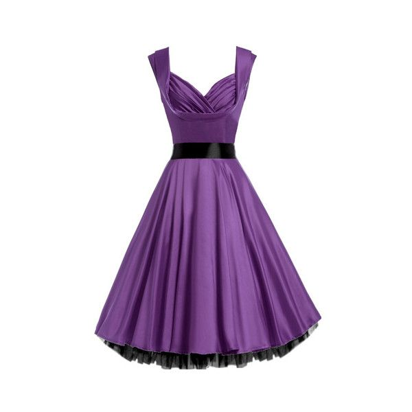 Marilyn 1950s Violet Purple Satin Cocktail Dress ($50) ❤ liked on Polyvore featuring dresses, evening dresses, purple dress, skater skirt, purple party dresses and flare cocktail dress