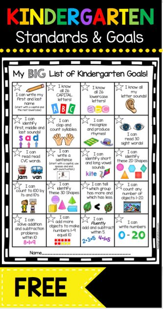 Kindergarten Goal Chart – FREEBIE - awesome incentive for your students to master math and ELA common core standards ... and its FREE!