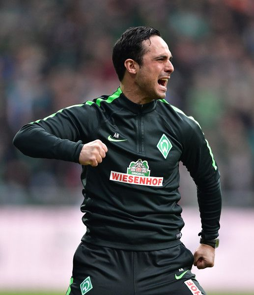Alexander Nouri, head coach of Bremen celebrates his teams second goal during the Bundesliga match between Werder Bremen and SV Darmstadt 98 at Weserstadion on March 4, 2017 in Bremen, Germany.