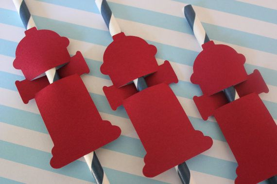 Fire Truck Birthday Party Straw Toppers // Fire Hydrant and Emblem // Set of 12 $3.75