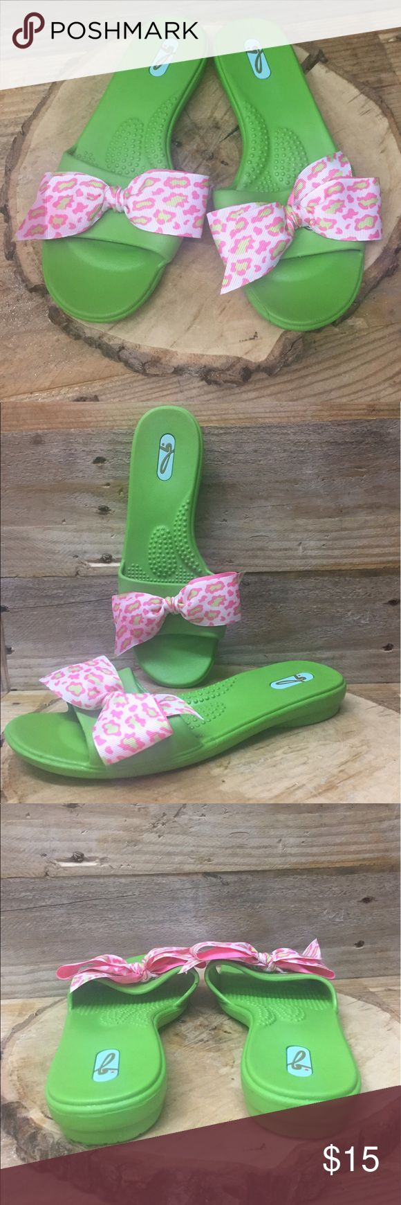 Oka Bee Green Sandals Pink Bow These sandals are eco friendly and recyclable . Made in the USA . Size Small fits 5.5-6. Shoes that you love shoe is 9in from heel to toe. Preowned and clean. Check out my closet to save on bundles. OKa Bee Shoes Sandals