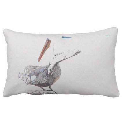 Brown Pelican Bird Harbor Wildlife Throw Pillow - photography gifts diy custom unique special