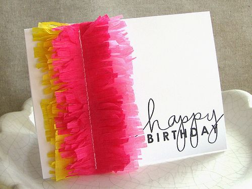 happy birthday card...sewn on fringed crepe paper!
