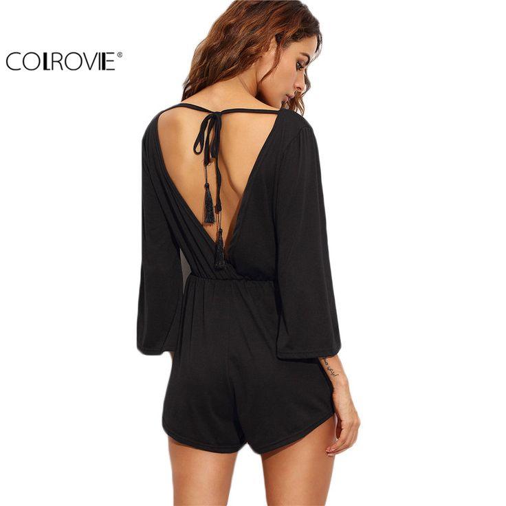 COLROVIE Black V Back Lace Up Fringe Playsuit Women Beach Wear Backless Three Quarter Length Sleeve V Neck Romper