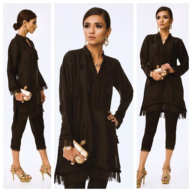 Friday night ready with our black tassel top and matching black weave pants! Place your orders at the boutique or inbox us for more information regarding online orders. Walk-ins welcome Mondays, Wednesdays and Saturdays from 3 PM - 6 PM. #NazliAkbar #premium #luxe #SilkCollection #readytowear #madetoorder #ootn #lookofthenight #formals #Karachi #Pakistan