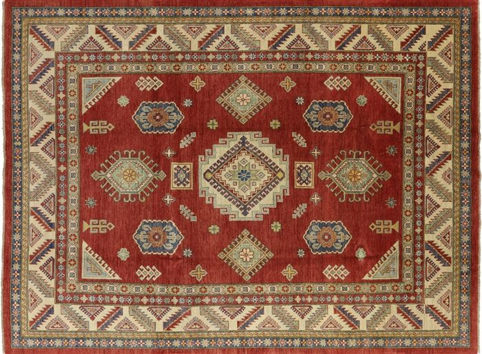 8 X 11 Kazak Hand Knotted Wool Rug In 2020 Rugs Wool Rug Hand Knotted