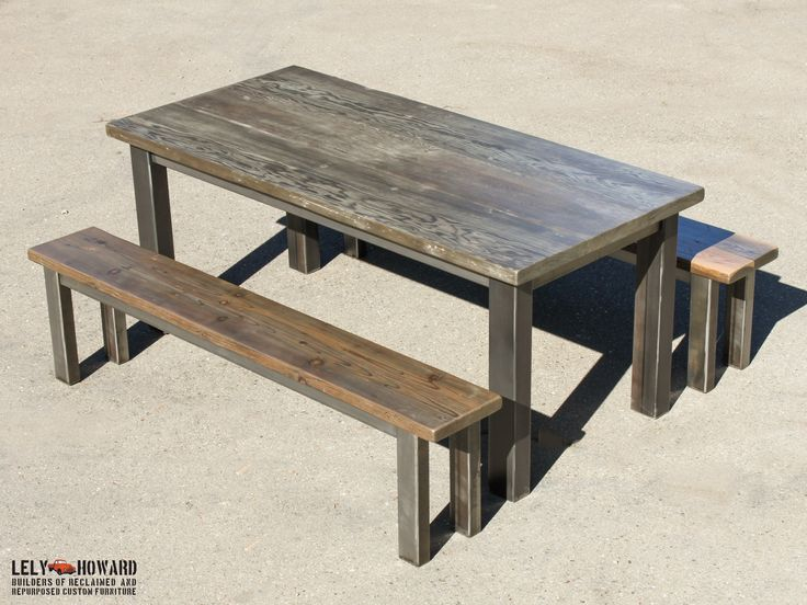 industrial looking furniture. this simple industrial looking farm table was built using dimensional douglas fir reclaimed from a furniture