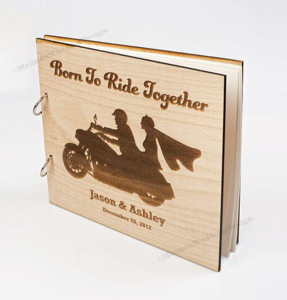 Motorcycle Love Wood Wedding Guest Book  by MelindaWeddingDesign, $64.00