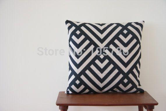 decoratieve linnen katoen kussen zwarte diamant kruis geometrisch patroon tegels…