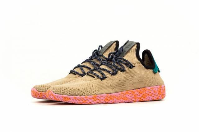 Pharrell Williams X Adidas Afro Tennis Hu Scarlet Black On Feet 2018 Adidas Sneakers Fashion Adidas Sneakers