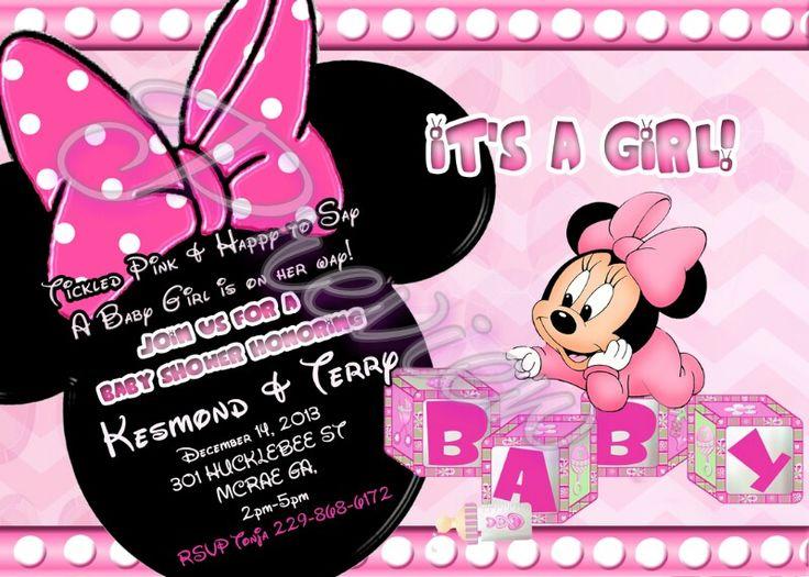 Minnie Mouse Baby Shower Invitations   Custom Invitations ...