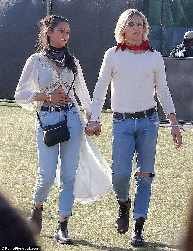 California loving:Australian actress Courtney Eaton put on a loved-up display as she strolled around the festival hand-in-hand with her beau Disney star Ross Lynch on Saturday at Coachella
