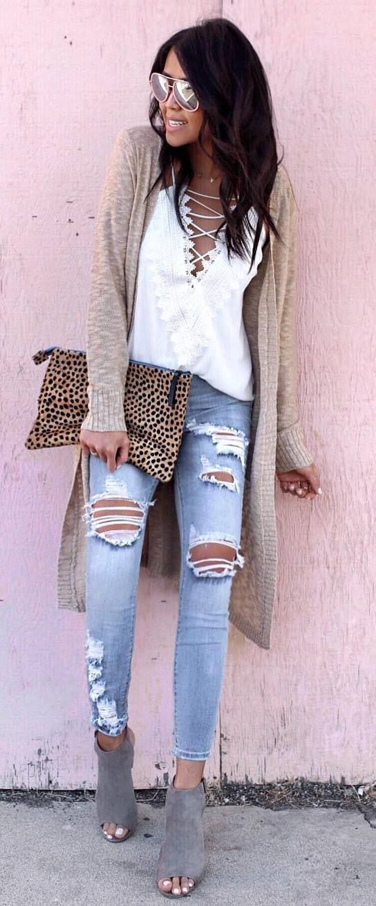 what to wear with rips : nude cardigan + top + heels + animal printed bag