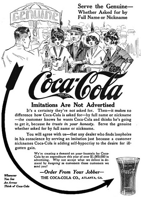 Whether asked for by full name or nickname, be sure you serve the genuine Coca-Cola! #vintage #food #ad #soda #Edwardian #1910s