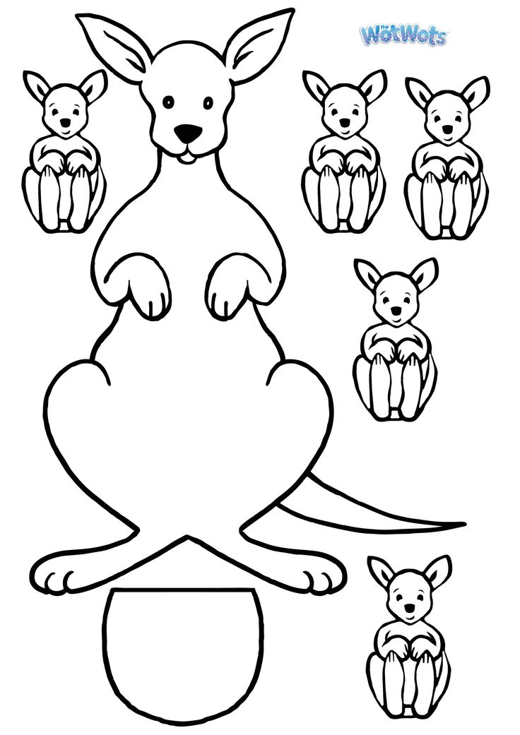 Kangaroo template 2480 3508 arts and crafts for Kangaroo puppet template