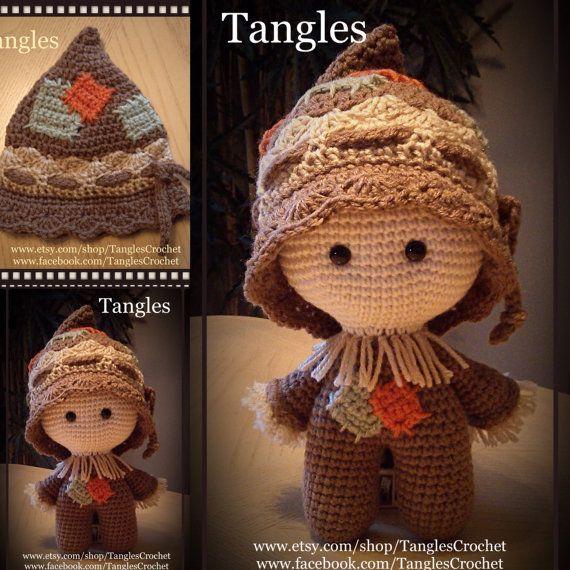 Bebé de espantapájaros muñeca de cabeza grande por TanglesCrochet