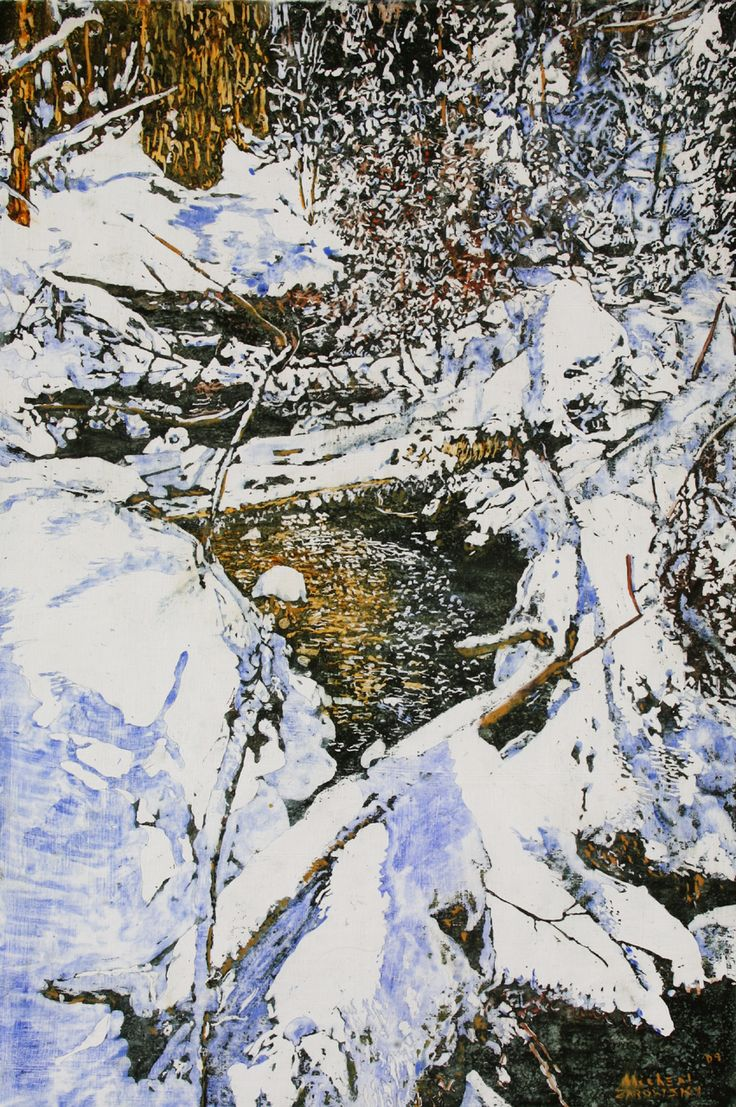 """open cedar stream 27 36"""" x 24""""  micheal zarowsky / mixed media (watercolour / acrylic painted directly on gessoed birch panel) available $ 2400.00"""