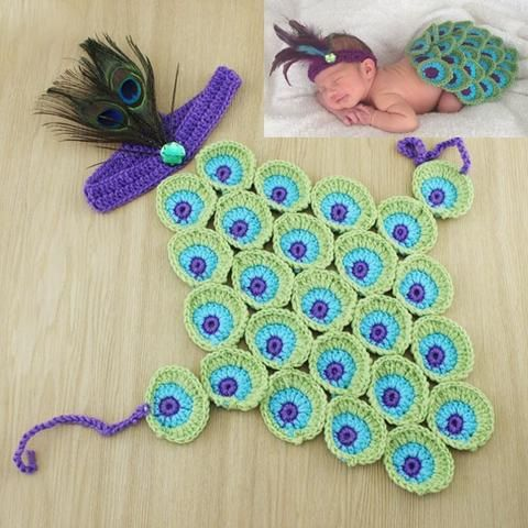 Peacock - Blue Green & Purple Baby Costume with Headband for Photograph Portraits Newborn