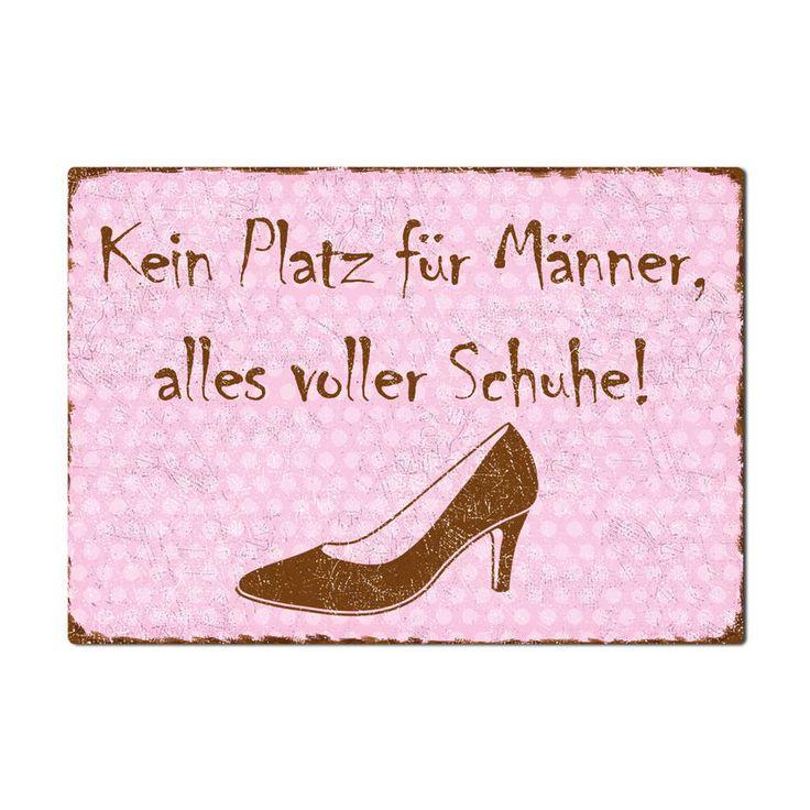 Kein Platz für Männer, alles voller Schuhe! - Schild A4 rosa