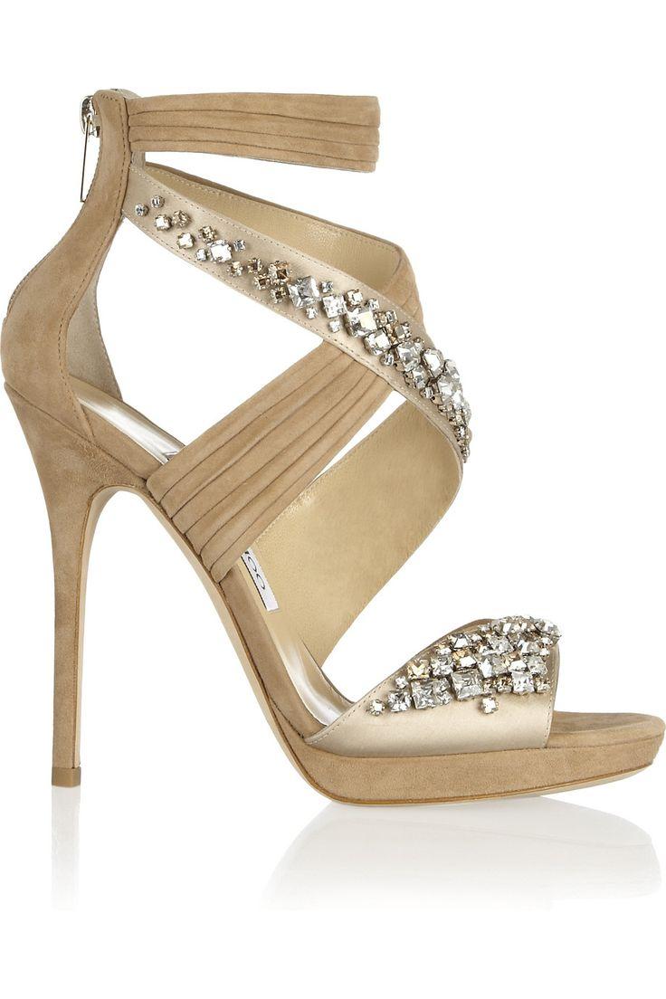 Jimmy Choo|Kani Swarovski crystal-embellished satin and suede sandals |NET-A-PORTER.COM