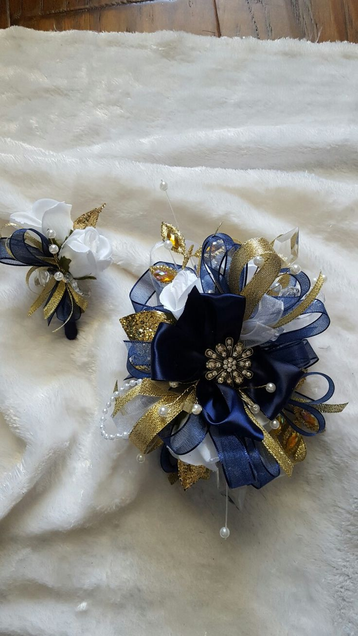 Navy white and gold prom corsage set from Hen House Designs www.henhousedesigns.net