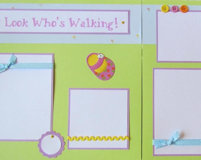 Baby page Sweet Girl; girl page; child page;  12x12 scrapbook page; Premade scrapbook layout; green pink and purple