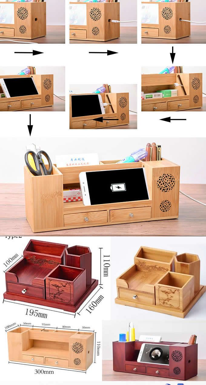 Creative Diy Desk Organizer Ideas To Make Your Desk Cute Wooden Struction Multi Function Offi Desk Organization Diy Stationery Organization Desk Organization