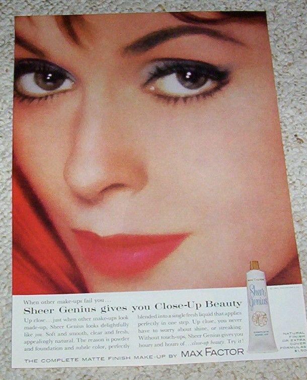 1963 ad page - Max Factor Sheer Genius Cosmetics Make up vintage PRINT ADVERT #MaxFactor