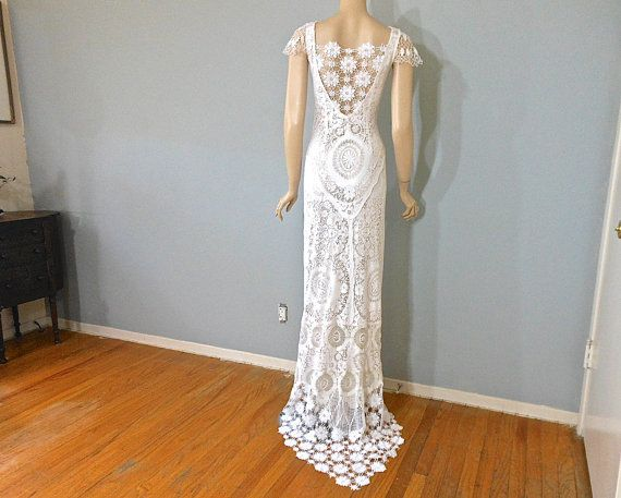 Hippie Boho Wedding Dress With Train White Lace Wedding DRESS BoHo