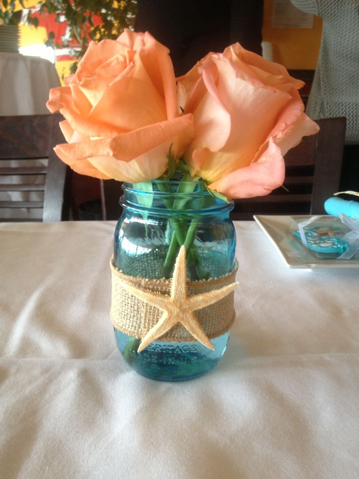 Beach theme shower centerpiece