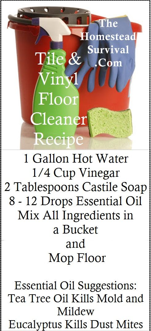 Tile floor cleaner - this worked pretty well; filled half the sink and added the vinegar & castille soap - next time, use 4-5 drops essential oil!!