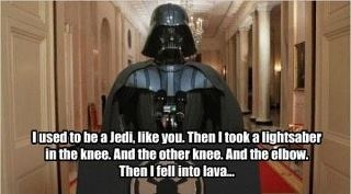 A lightsaber to the knee