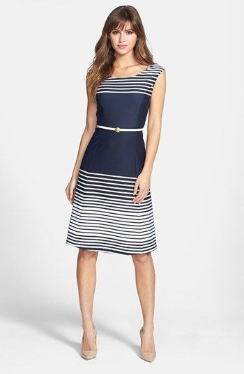 Anne Klein Ombré Stripe Fit & Flare Dress | Nordstrom