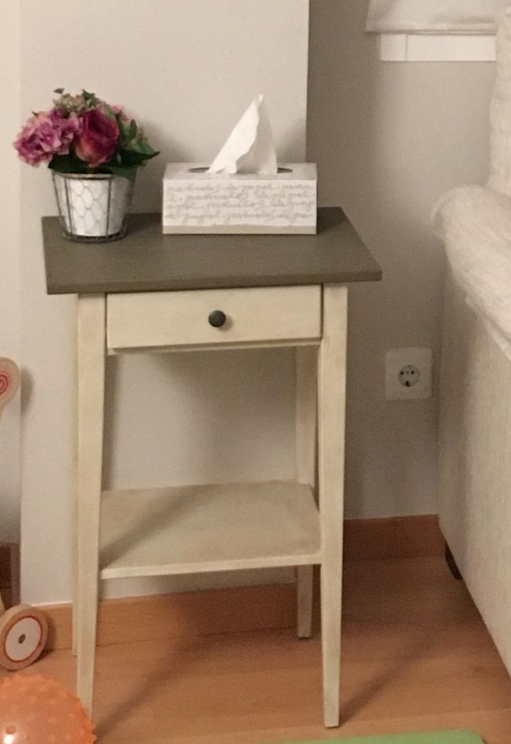 Ikea black hemnes nightstand hack painted with chalk