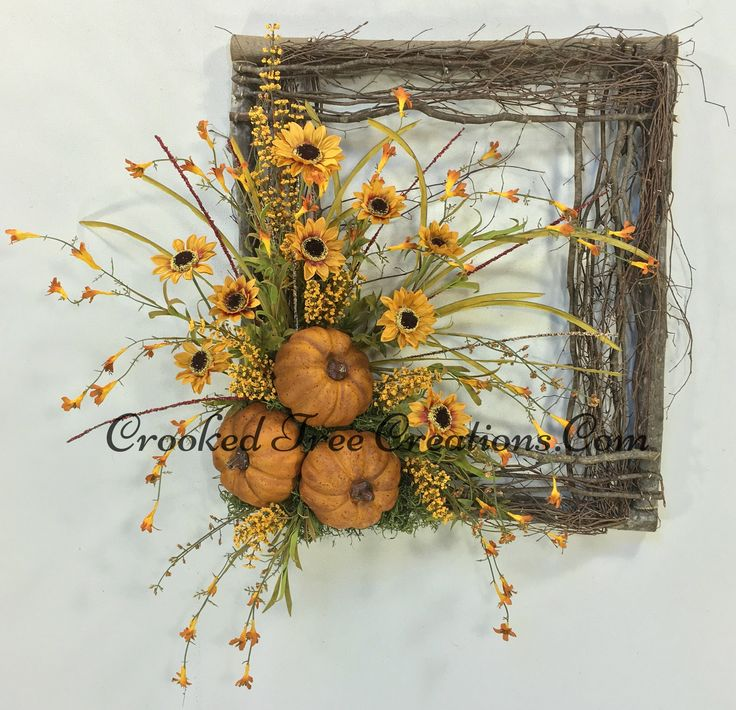 Sunflower/Pumpkin Square Twig Wreath