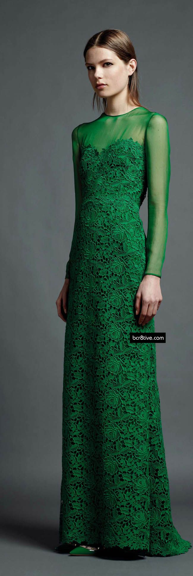 Valentino Pre Spring 2013 Green lace dress with illusion sleeves