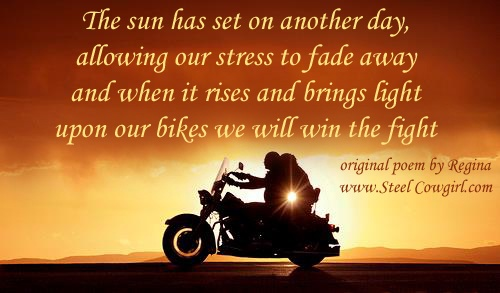 Quot The Setting Sun Quot Motorcycle Poem By Steel Cowgirl Biker