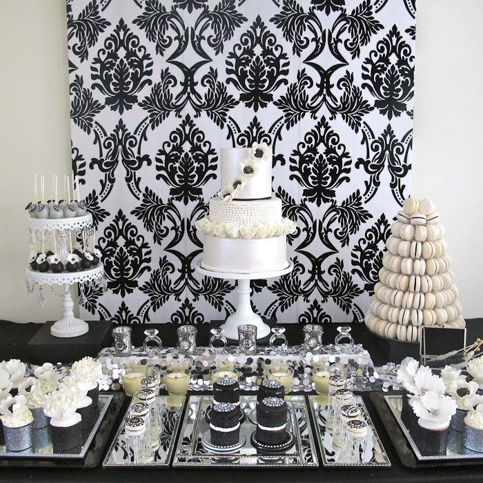 Glamorous Black and White with a touch of silver Table by Divine Sweets and Cakes