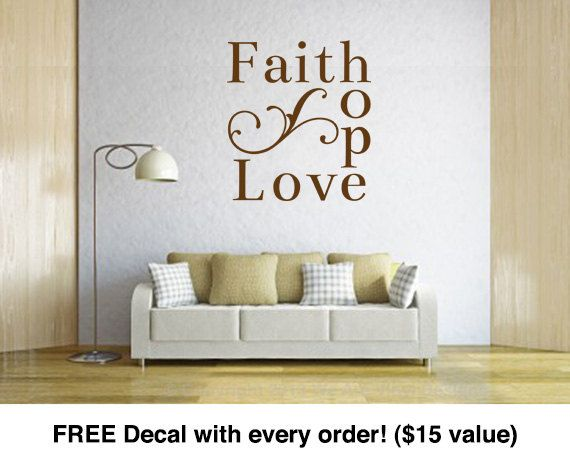 Room Decals. Faith Hope Love (14.3 Wide X 16 Tall) CODE 035 Vinyl. Bedroom  Wall ...