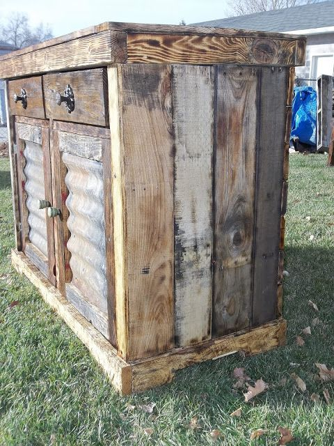 outdoor shed vanity made from old pallets