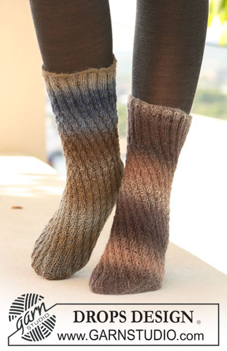 """DROPS knitted tube sock in """"Delight"""". ~ DROPS Design"""
