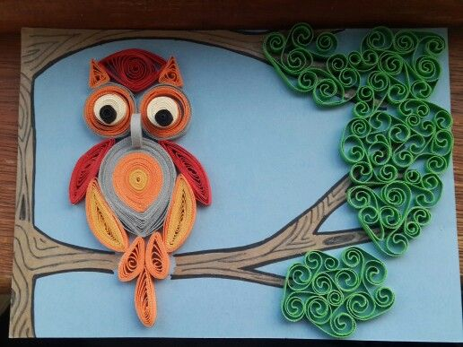 Quilled owl.... big eyes and bold colours