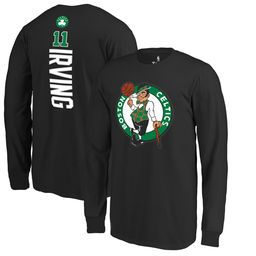 Youth Boston Celtics Kyrie Irving Fanatics Branded Black Stacked Name & Number Long Sleeve T-Shirt