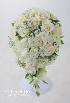 かすみ草を入れたティアドロップブーケ ys floral deco@東京會舘
