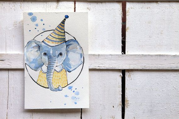 baby elephant illustration art for kids by ariannapiazzafineart, $39.00