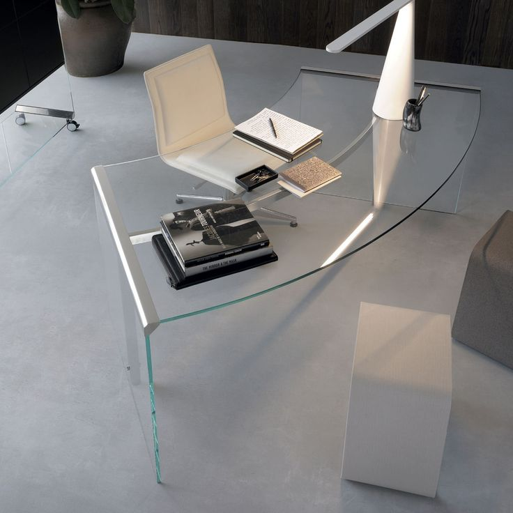 President Curved Glass and Metal Desk by Gallotti & Radice - Klarity