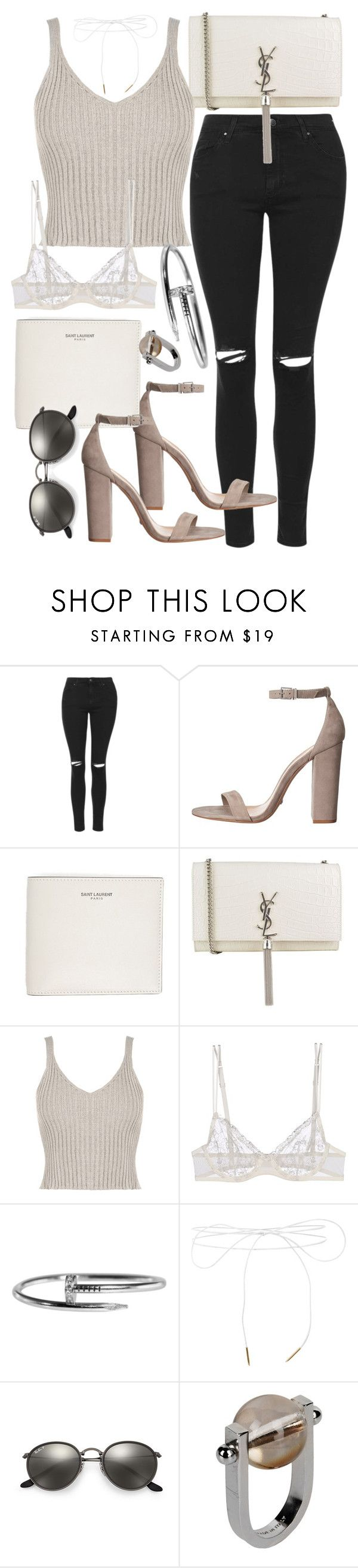 """""""Untitled #20217"""" by florencia95 ❤ liked on Polyvore featuring Topshop, Yves Saint Laurent, WearAll, La Perla, Lilou, Ray-Ban and Jil Sander"""