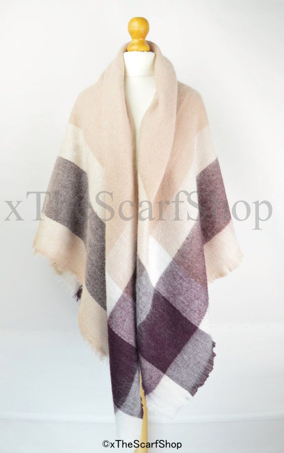 Mulberry & Pink Oversize Square Check Blanket by xTheScarfShop