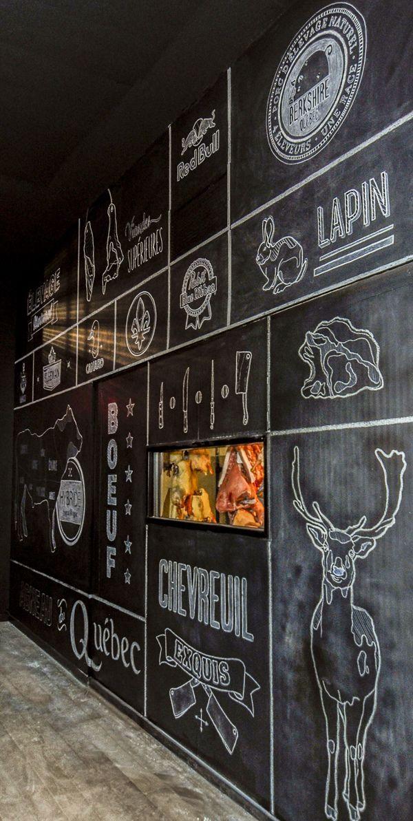 Murale a la craie. Chalkboard art. Restaurant O chevreuil, sherbrooke.