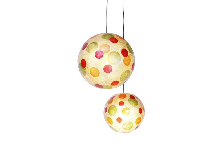 """Circus"" - Κρεμαστό/επιδαπέδιο φωτιστικό  Handmade fiberglass ball lamp  Fiberglass material is robust and lightweight  It can be hang from the ceiling as the central light of the space, or be put on the floor/any surface as a floor/desk lamp  Diameter: 40 or 30cm  The ball has Natural White as its background color, while the design is in Black colour  It comes complete with an E27 bulb holder and you can use as much wattage as you need."